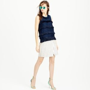J Crew Crossover Striped Blue Cream Linen Skirt